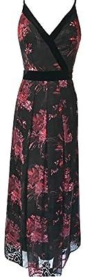 Karen Millen Floral Print Devore Maxi Dress Black Red Multi
