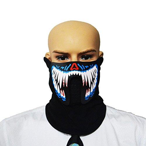 SUNREEK Sound Aktivieren LED Party Kostüm, Unisex Flashing EL Panel Musiksteuerung LED Party Kostüm Maske für Nacht Reiten, Musik Festival Oder Halloween Party (Beast Weiße Zähne)