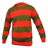 Rouge Pour Hommes et Foncé Bande Verte Freddy Kruger Déguisement Tricot - Rouge et Vert Freddy, S - 96-101cm