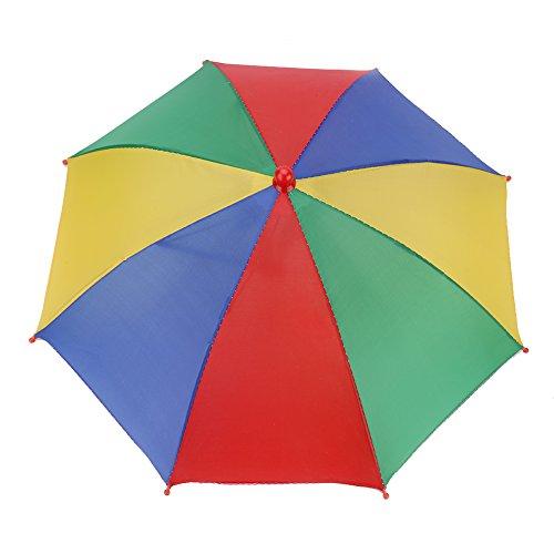 Alomejor Regenschirm Hut Faltbare Regenbogen Kopfbedeckung Regenschirm Sonne Regen Kappe für Golf Angeln Camping(Dreifarbig+Gelb) (Regenbogen Hut Regenschirm)