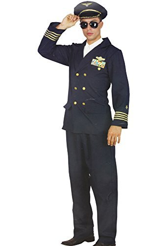Pilot Herren Karneval Kostüm 3 teilig Hose Jacke Mütze Anzug Flugbegleiter Party Fasching ()