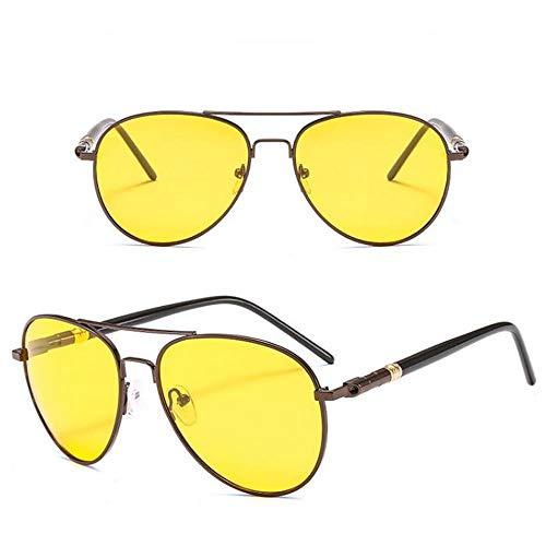 Szblk Polarisierte Farbsonnenbrille Metallsonnenbrille 100% UV-beständige Fahrsonnenbrille Angelsonnenbrille Mode Vintage Ellipsentrainer Nachtsichtbrille (Color : Yellow)