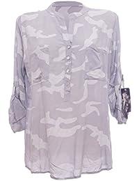 Moda Italy Damen Schlupfbluse Bluse Fischerhemd Camouflage Muster Punkten V- Ausschnitt und Langen Ärmel mit Knopfriegel Polka Dots… e66ae38cb7