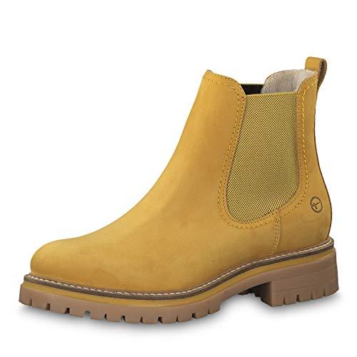 Tamaris Damen Stiefeletten 25474-23, Frauen Chelsea Boots, halbstiefel Stiefelette Schlupfstiefel flach Damen Frauen weibliche,Saffron,36 EU / 3.5 UK