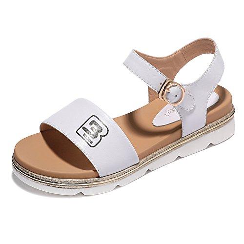 KJJDE Damen Riemchen Wedges Sandalen JZTC-8934 Lässiger Stil Knöchelriemchen Keilabsatz High Heels Schuhe Bequem 3.5CM, White,38 (White Satin Wedge Schuhe)