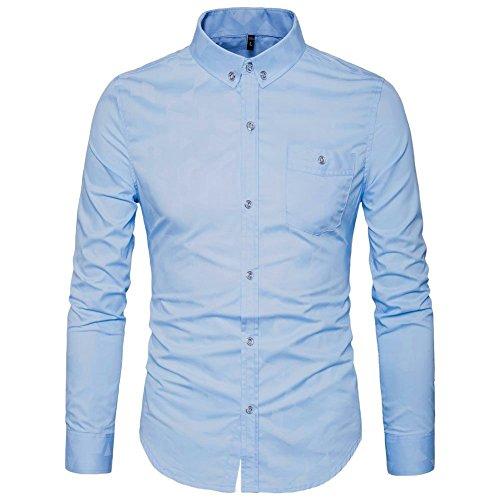 AIYINO Herren Hemd für Business Freizeit Hochzeit Baumwolle 6 Farben zur Auswahl XS-XL(L SkyBlue) (Baumwoll Hemd Button-down)