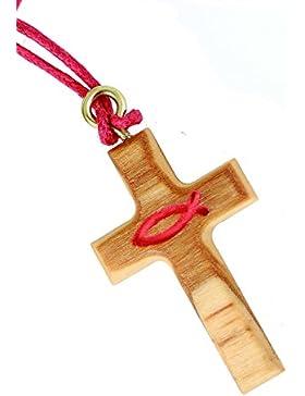 °° Halskette mit Kreuz und rotem Fisch - Ichthys (Christen-Symbol)