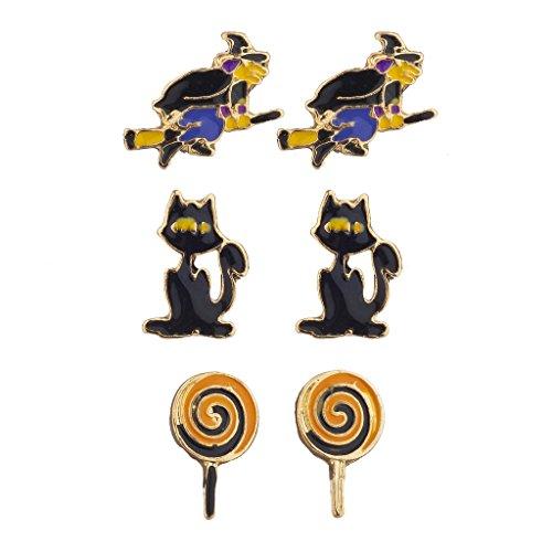 LUX Zubehör Halloween Hexe Besen Katze Lollipop Ohrstecker Ohrring Set (Kostüme Delphin Halloween)