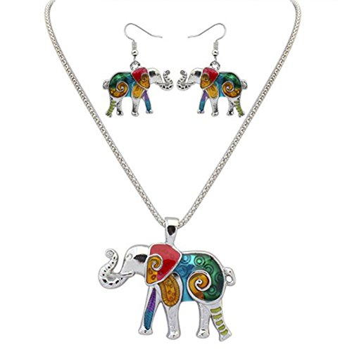 MESE London Conjunto De Aretes Y Collar De Elefantes Coloridos Plateado Plata...