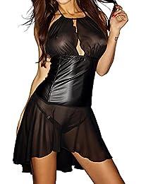 Noir Handmade Clubwear erotisches Damen-Kleid aus Tüll und Wetlook Reizwäsche