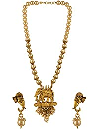 Archi Collection Bridal Traditional Gold Plated Kundan Pearl Temple Choker Tassel Necklace Earrings Jewellery Set