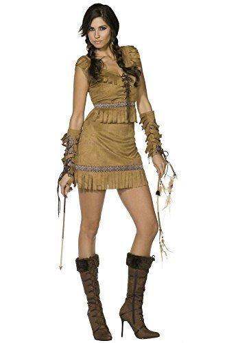 Pocahontas Kostüme Sexy (Damen Fieber Sexy Indianer American Squaw Pocahontas Wilder Westen Western Cowboys & Indianer Party Kostüm Outfit - translation, original, Braun,)