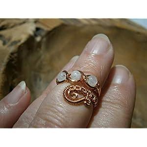 Knöchelring handgemacht knucklering Regenbogen Mondstein Paisley Kupfer wirework
