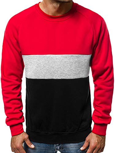 OZONEE Herren Sweatshirt Pullover Motiv Modern Pulli Täglichen Streetwear Sportswear Langarmshirt 777/301B ROT 2XL