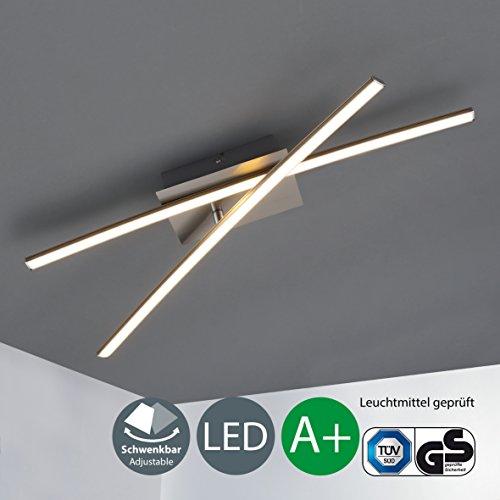 B.K. Licht plafonnier LED, 2 barres dont 1 barre pivotante, lampe moderne, plafonnier LED salon salle à manger chambre cuisine couloir, IP20, 11W
