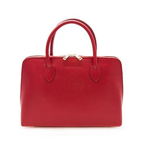 Zerimar Damen Leder Aktentasche| Umhängetasche|für kleiner Laptop-Computer Tache | Weiches Leder| Damen Handtasche| Tasche Frau|leder beutel|Größe 26x37x12 cm. Rot