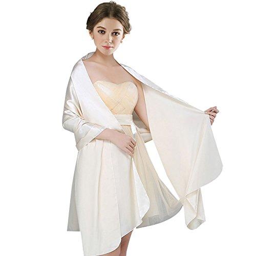 FIODAY Damenschal Silky Satin Stola Schal für Kleider Abendkleid (Große Breite: 75cm)