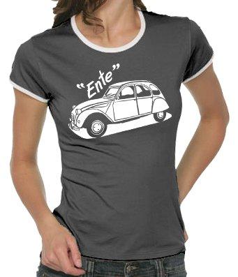 Touchlines - T-shirt Youngtimer da donna, disegno: Citroen modello 2 cavalli Ente, taglie S - XL Colore - Grigio scuro