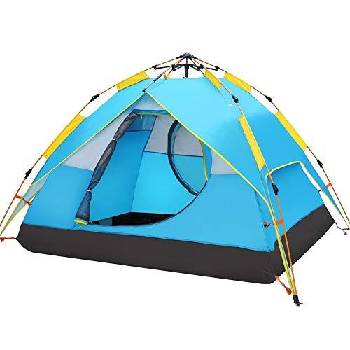 Hewolf Automatisches Pop-Up-Zelt für 3-4 Personen - Aktualisierte Version Hydraulisches Campingzelt - Doppelschichtiges wasserdichtes Kuppelzelt mit Tragetasche (Blauer See)
