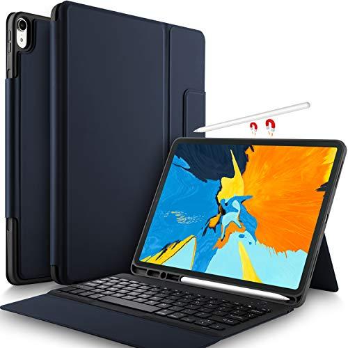 Yocktec Tastatur Hülle für iPad Pro 12.9 2018 [QWERTZ Deutsches Layout], Leicht Alles-in-Einem Bluetooth Tastatur Schutzhülle mit Standfunktion für Apple iPad Pro 12.9 Zoll 2018 Tablet (Blau)