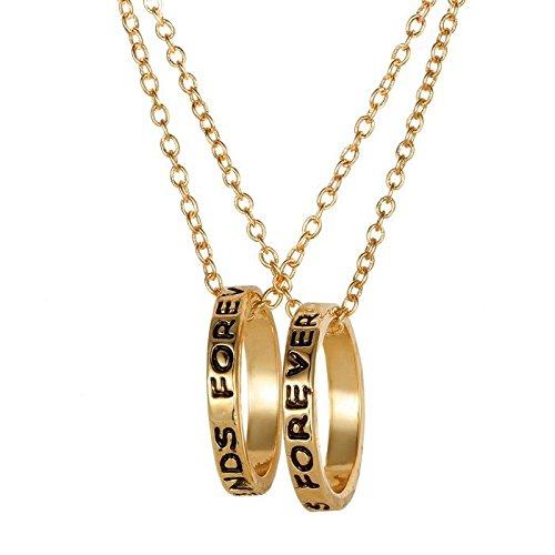 Veuer ragazza gioielli amicizia catena 2catene best friends forever anello oro 'en regalo da natale per le donne, fidanzata, matrimonio della donna