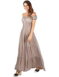 KRISP® Damen Boho Maxi Kleid Einfarbig Bodenlang
