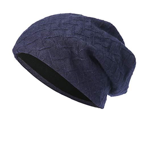 Fuibo Strickmützen für Herren und Damen, Männer Frauen Baggy Warm Crochet Winter Wolle Stricken Ski Beanie Skull Slouchy Caps Hut | Basecap, Baseball Cap, Verstellbar (Navy)