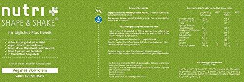 Nutri-Plus Shape & Shake Proteinpulver - Vegan Vanille 500g - ohne Aspartam, Laktose & Milcheiweiß - Dose inkl. Dosierlöffel - veganes 3k-Protein