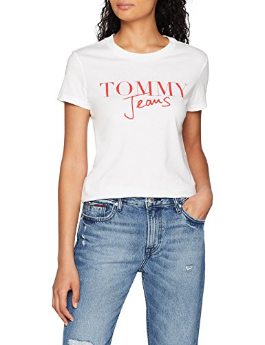 Hilfiger denim tjw script logo tee, t-shirt donna, bianco (bright white 113), medium