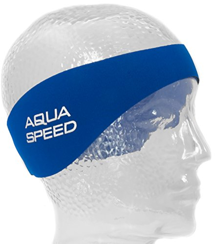 Aqua Speed EARBAND Neopren Stirnband | Schwimmen | Damen | Herren | Rosa | Blau | Schwimmen | 55 cm | Ohrenband | Längenverstellbar | Klettverschluss | Haarband, Farbe:Blue