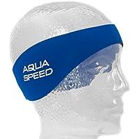 Aqua Speed EARBAND/EARBAND JR | Banda para la Cabeza | Niños | Adultos | Neopreno | Natación | Cinta de los oídos | Banda para el Cabello | Azul