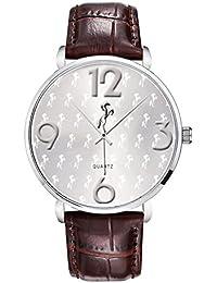 Talgo MultiHorse Analog Ultra Slim Silver Bezel White Dial Genuine Brown Leather Belt Wrist Watch For Men
