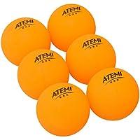 Atemi - Pelotas de Ping Pong de 3 Estrellas Profesionales Reglamentarias de 40mm (6 Unid) | Uso Interior/Exterior | Set de Tenis de Mesa Estándar| Rebote Redondez Dureza Mejorados (Naranja)
