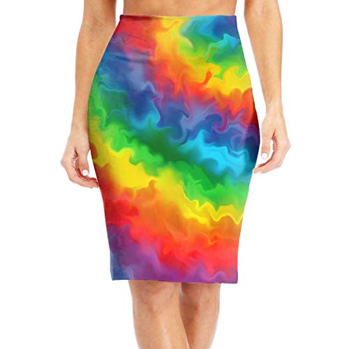 mfsore Rainbow Colors Women's Casual High Waist Bodycon Pencil Skirts Printed Party Skirt,2XL -
