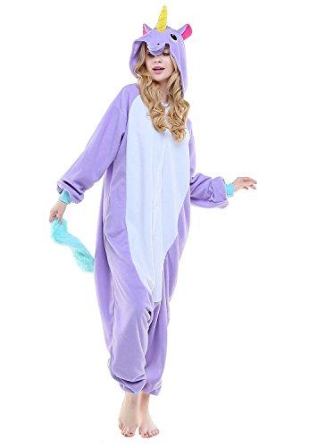 Kigurumi Pyjamas Einhorn Pegasus Erwachsene Unisex Animal Cosplay Overall Pajamas Anime Schlafanzug Jumpsuits Spielanzug Kostüme (Large, Neu Violett Einhorn Pegasus)