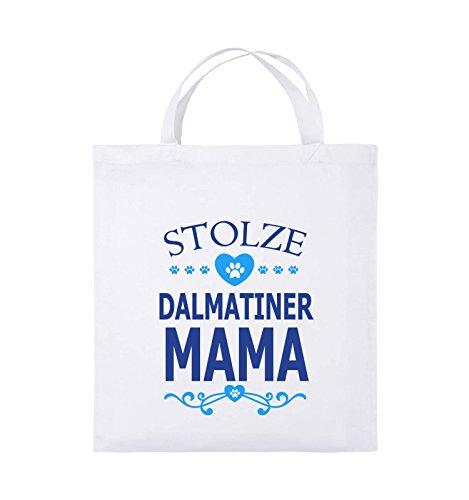 Borse Da Commedia - Orgogliosa Mamma Dalmata - Cuore - Borsa Di Juta - Manico Corto - 38x42cm - Colore: Nero / Bianco-neon Verde Bianco / Blu Reale-azzurro