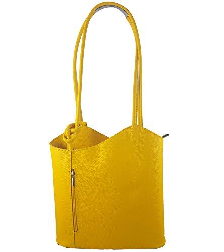 Freyday 2 in 1 Handtasche Rucksack Designer Luxus Henkeltasche aus Echtleder in versch. Designs (Glattleder Gelb)