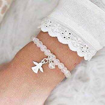 Rosenquarz-Armband Damen mit Schutzengel Silber, perfektes Geschenk für Mädchen zur Kommunion, Naturstein