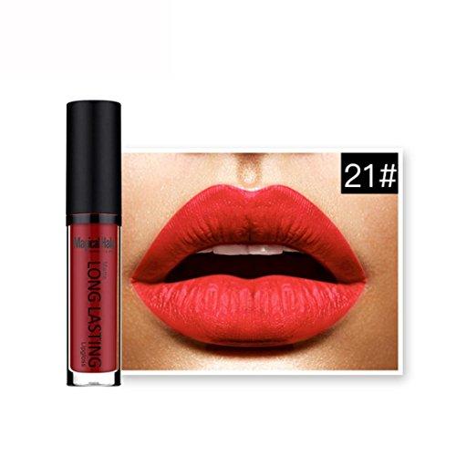 Rouges à lèvres,Covermason Imperméable à l'eau mate liquide rouge à lèvres longue durée Lip Gloss à lèvres (21#)