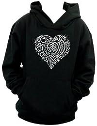 Tribal Love Heart Personalised Diamante Diamante Diamonte hoodie