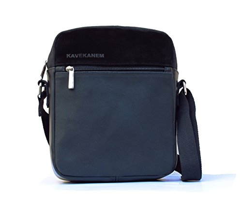 Bolso bandolera para hombre. Bolso de cuero y algodón lavado. Bolso artesanal hecho con original combinación de materiales.