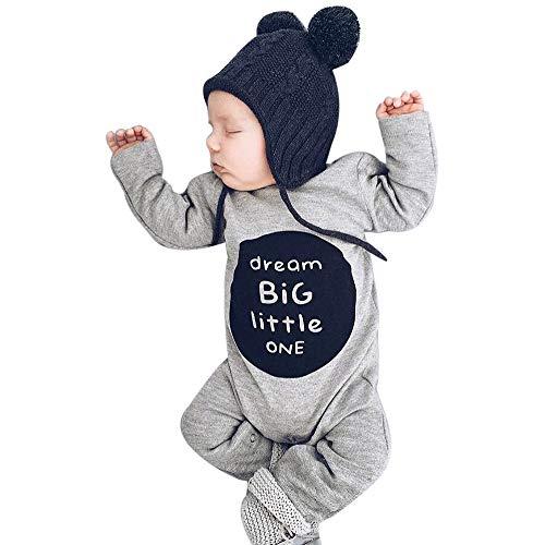 (Neugeborenen Baby Jungen Mädchen Strampler Langarm feiXIANG Brief Overall Kleidung Outfits Herbst Baby Kind Kleidung Langarm Romper(Grau,80))