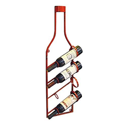 Etagère à bouteille Peut contenir 4 bouteilles de vin mural porte-bouteilles de vin, porte-bouteilles de vin suspendus, étagères de rangement d'équipement de vin en fer Vintage Style, rouge