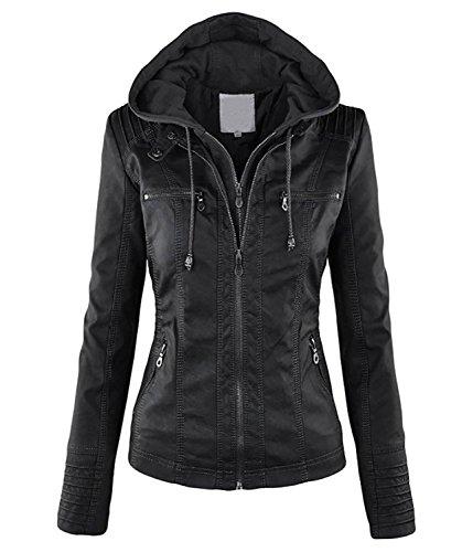 Minetom Donna Vintage Cappuccio Zipper Cardigan Invernali Cappotto Giacca Felpa Giacche Ecopelle Jacket Nero IT 42