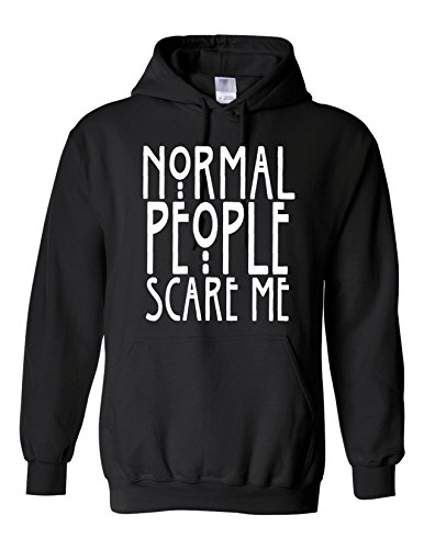 Normal People Scare Me Jumper Dope Swag Hipster Top Unisex normale, Felpa Con Cappuccio Black
