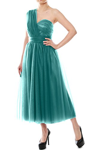 MACloth Tea Length Convertible Bridesmaid Dress Tulle Wedding Party Formal Gown Oasis