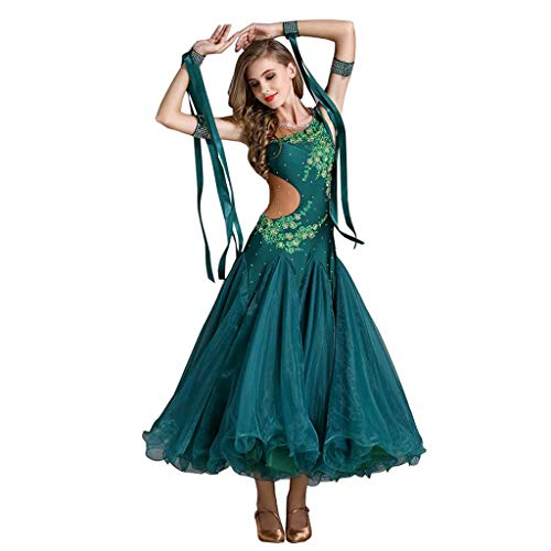 YTS Kleidung Modern Dance Kostüme, Vier Jahreszeiten dunkelgrün Damen Kleid (Farbe : Dunkelgrün, größe : S) (Vier Jahreszeiten Sommer Kostüm)