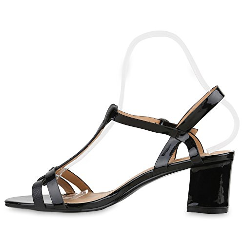 Damen Metallic Sandaletten Blockabsatz Schuhe Sommerschuhe Schwarz Lack