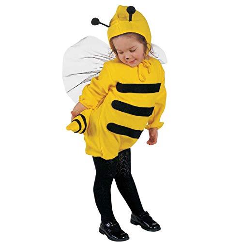 Biene Kinder-Kostüm Honigbiene | Kinderkostüm Cartoon 104 cm 2-3 Jahre | Niedliches Bienen Mädchenkostüm Bienenkostüm | Kinder Faschingskostüm Mädchen | Ideal als Tierkostüm oder Verkleidung Hummel Wespe ()
