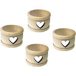 Kaltner Präsente-Regalo Idea-Servilleteros de madera de arce natural con diseño Corazón 4unidades en Set